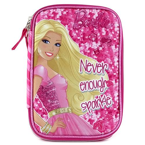 Školní penál s náplní Barbie jednopatrový, nápis Never enough sparkle