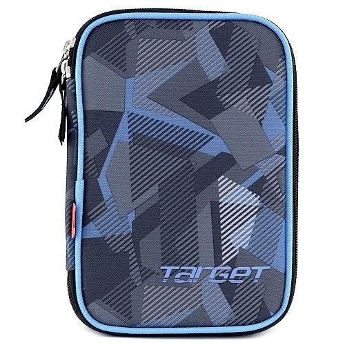 Školní penál s náplní Target jednopatrový, modro/šedý
