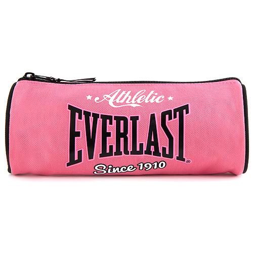 Školní penál Everlast kulatý, černo/růžový