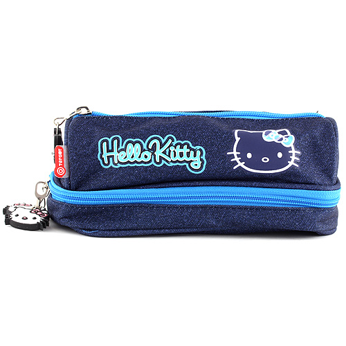 Školní penál bez náplně Hello Kitty dvoukomorový, tmavě modrý s motivem Hello Kitty
