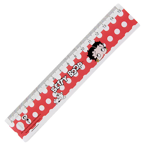 Pravítko 15cm Betty Boop červené s motivem panenky Betty Boop