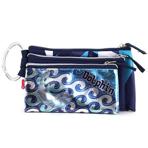 Školní penál trojitý Target Dolphin, barva modrá