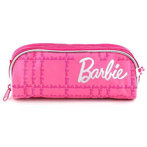 Školní penál bez náplně Barbie růžový se stříbrným nápisem Barbie