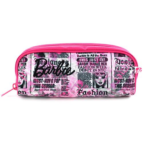 Školní penál bez náplně Barbie růžový, popsaný, s černým nápisem Barbie
