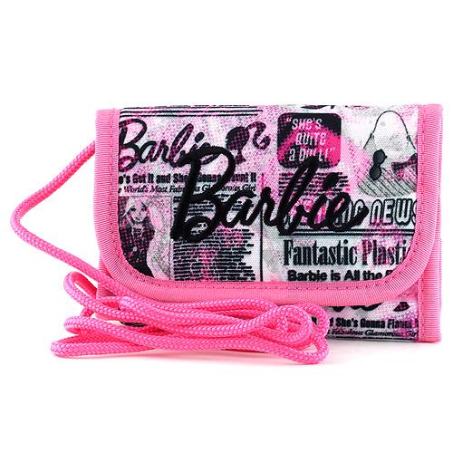 Peněženka s poutkem Barbie růžová, popsaná, s černým nápisem Barbie