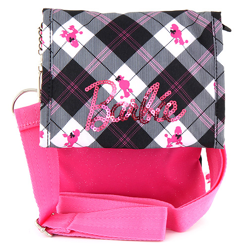Kabelka přes rameno Barbie černo/růžová, s růžovým nápisem Barbie