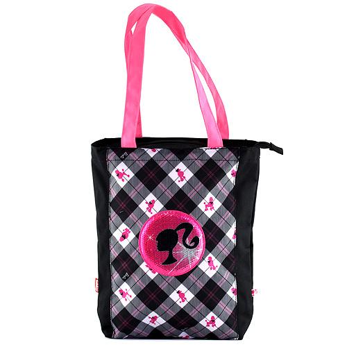 Nákupní taška Barbie černá s bílo/růžovým motivem panenky Barbie