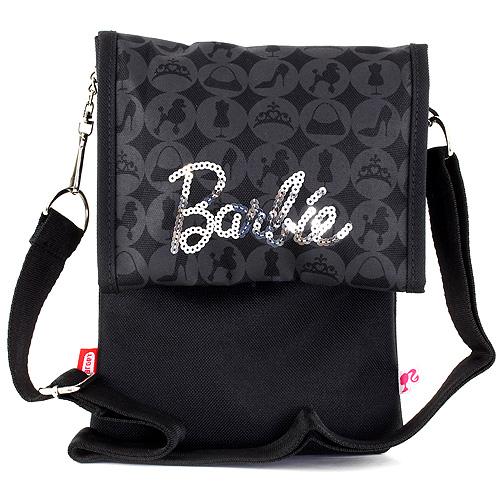 Kabelka přes rameno Barbie černá se stříbrným nápisem Barbie