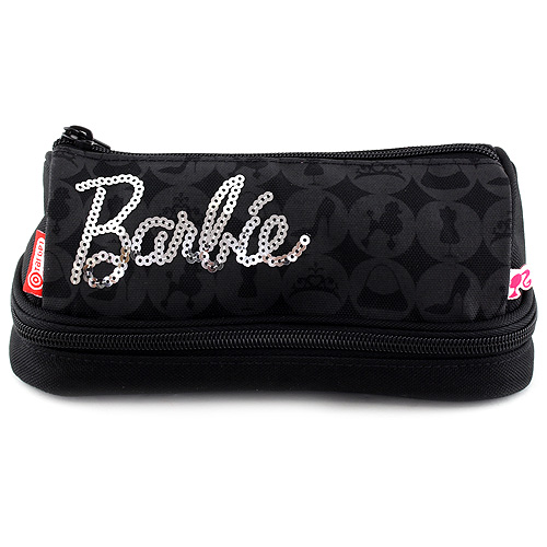 Školní penál bez náplně Barbie 2 kapsy, černý se stříbrným nápisem Barbie