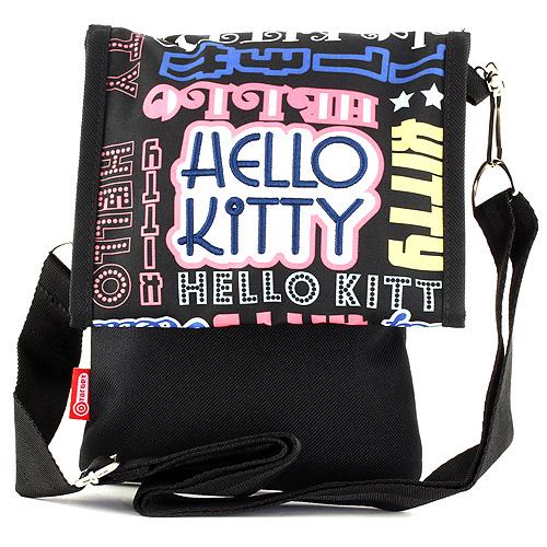 Kabelka přes rameno Hello Kitty černá, s barevnými nápisy Hello Kitty