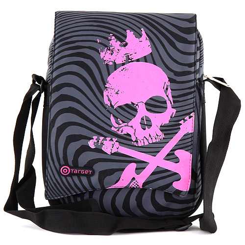 Taška do města Target černá s šedými ornamenty a růžovou lebkou