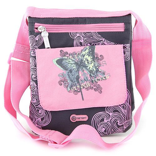 Kabelka přes rameno Target černá s růžovými ornamenty, s motivem motýla