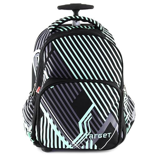 Školní batoh trolley Target černý se zeleno/šedými ornamenty