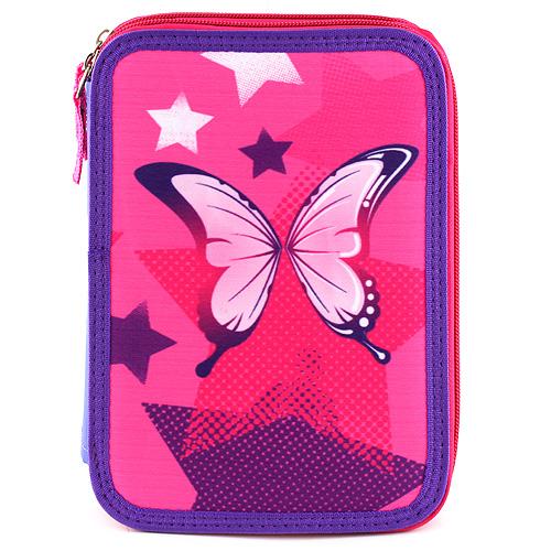 Školní penál s náplní Target Motýl, barva růžovo-fialová