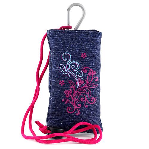 Pouzdro na mobil Target džínové, s růžovým motivem květin