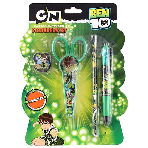 Školní sada Ben 10 4-dílná, 1x guma, 1x nůžky, 1x tužka, 1x propiska 4 barvy s