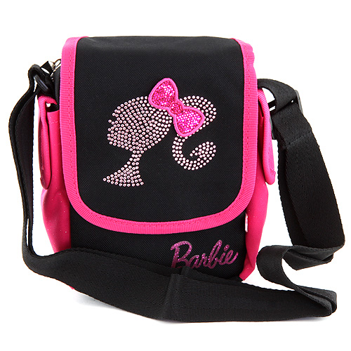 Kabelka přes rameno Barbie růžovo/černá s motivem panenky Barbie