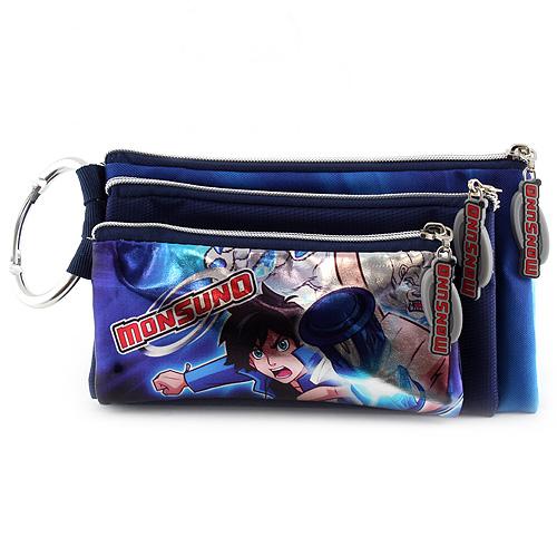 Školní penál trojitý Monsuno 3 kapsy, tmavě modrý, s motivem chlapce