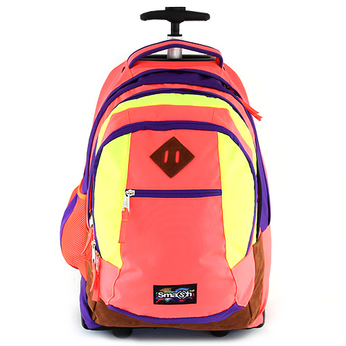 Školní batoh trolley Smash neonově oranžová lemovaná fialovou