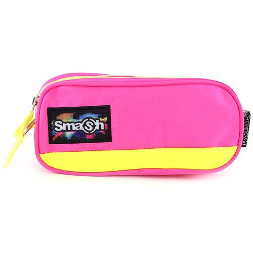 Školní penál bez náplně Smash růžový s neonově žlutým