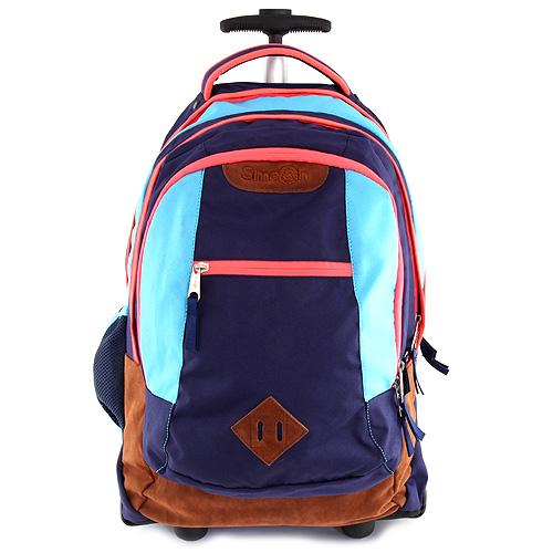 Školní batoh trolley Smash modrá lemovaná neonově růžovou