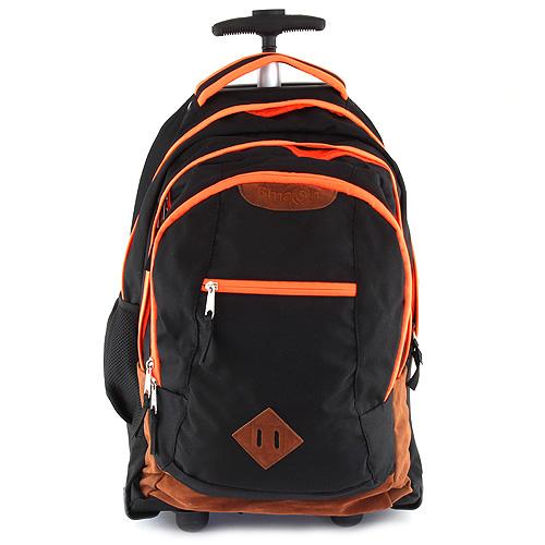Školní batoh trolley Smash černá lemovaná neonově oranžovou
