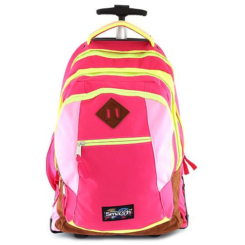 Školní batoh trolley Smash tmavě, světle růžová lemovaná neonově žlutou