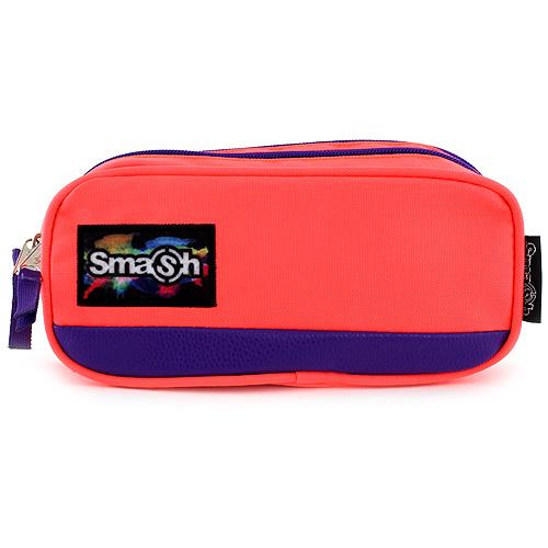 Školní penál bez náplně Smash neonově růžový s fialovým lemováním