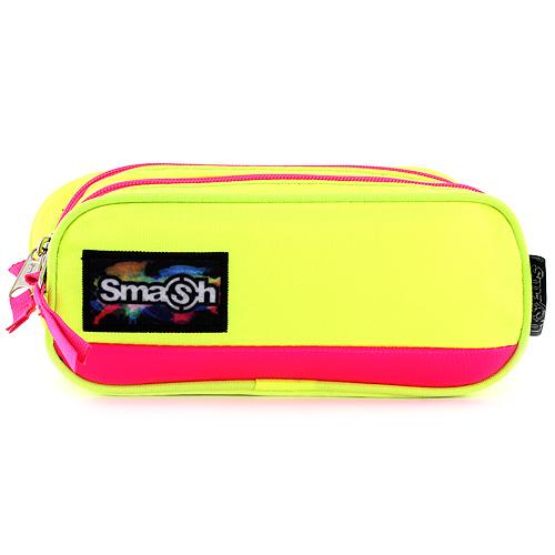 Školní penál bez náplně Smash neonově žlutý s růžovým lemováním