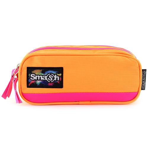Školní penál bez náplně Smash neonově oranžový s růžovým lemováním