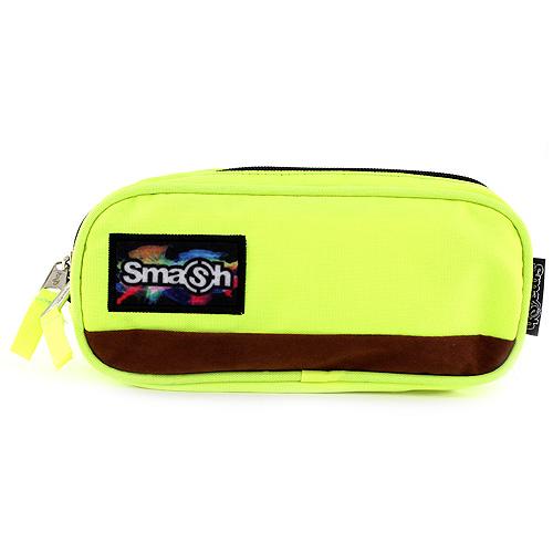 Školní penál bez náplně Smash neonově žlutý, 2 kapsy
