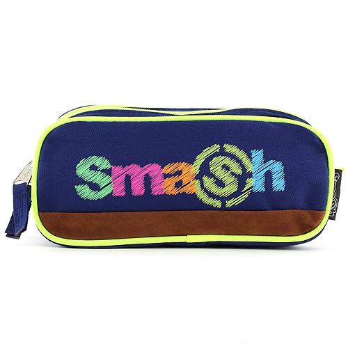 Školní penál bez náplně Smash 2 kapsy, tmavě modrý/neonově žlutý