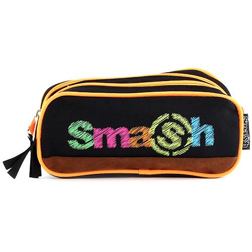 Školní penál bez náplně Smash 2 kapsy, černý/neonově oranžový
