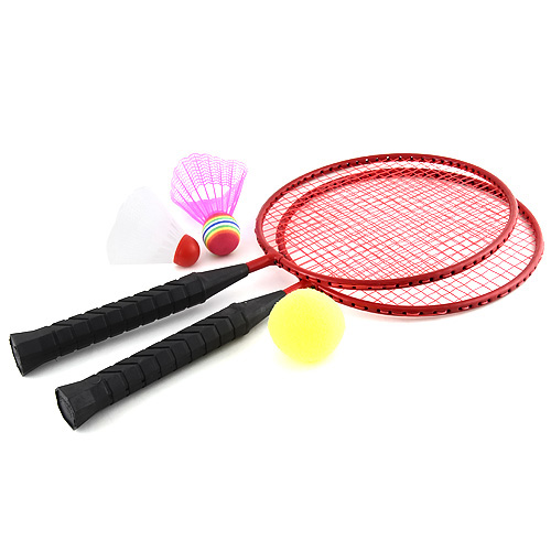 Mini badminton Hudora červený, 2x raketa, 2x košíček, 1x míček