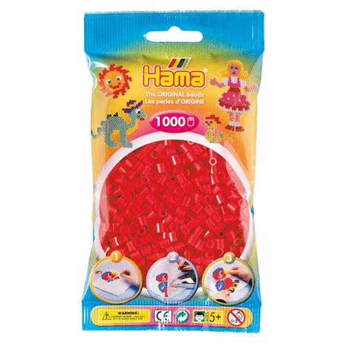 Korálky zažehlovací Hama červená neonová, 1000ks