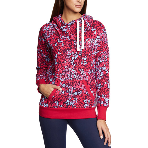 Puma Fun Graphic Hoodie- Fleece cerise-allover | XS