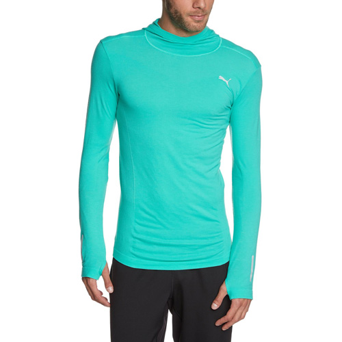 Puma PR_Cross_Hooded L S Tee pool green | L