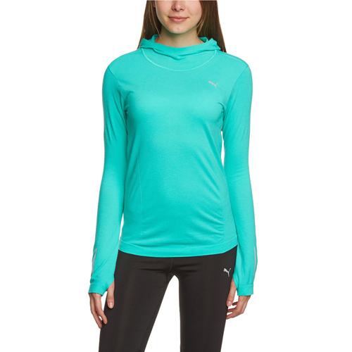 Puma PR_Cross_Hooded L S Tee W pool green | M