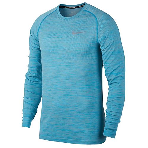 Nike M NK DF KNIT TOP LS 10   RUNNING   MENS   LONG SLEEVE TOP   PALE GREY/VIVID SKY