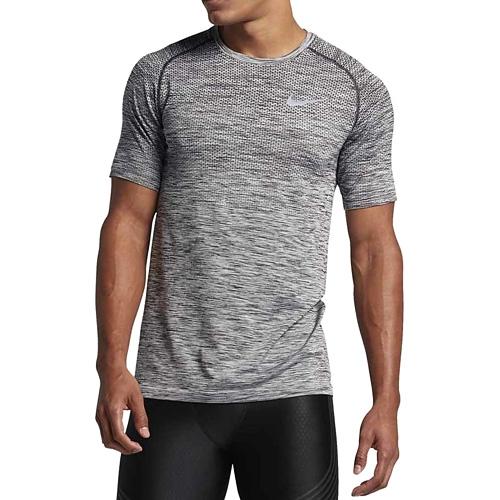 Nike M NK DF KNIT TOP SS 10   RUNNING   MENS   SHORT SLEEVE TOP   BLACK/HTR   XL