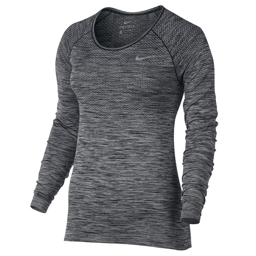Nike W NK DF KNIT TOP LS 10   RUNNING   WOMENS   LONG SLEEVE TOP   BLACK/HTR   XS