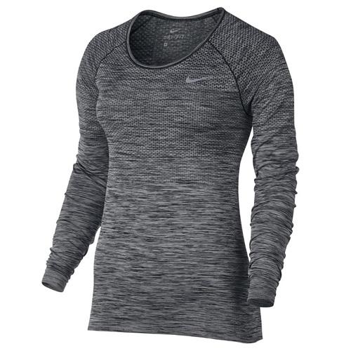 Nike W NK DF KNIT TOP LS 10   RUNNING   WOMENS   LONG SLEEVE TOP   BLACK/HTR   L