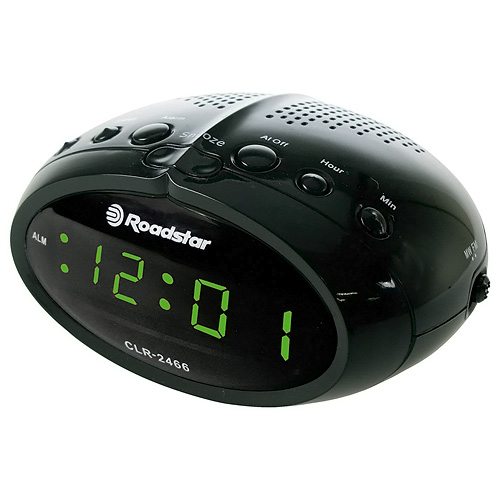 Roadstar Radiobudík, MW/FM,SLEEP,9V SLIM DESIGN CLOCK RADIO WITH PLL  FM BAND, RED LED DISPLAY