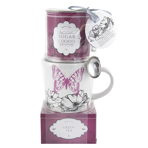 Dárkové sety Dárková sada Zelený čaj 20g, hrnek s motivem květin a motýla, plechová dó