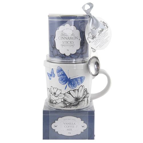 Dárkové sety Dárková sada Vanilková káva 20g, hrnek s motivem květin a motýlů, plechov