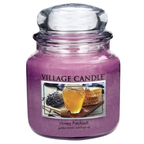 Svíčka ve skleněné dóze Village Candle Med a pačuli, 454 g