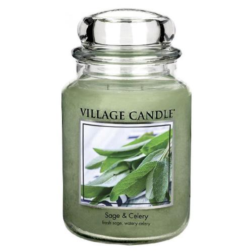 Svíčka ve skleněné dóze Village Candle Šalvěj a celer, 737 g