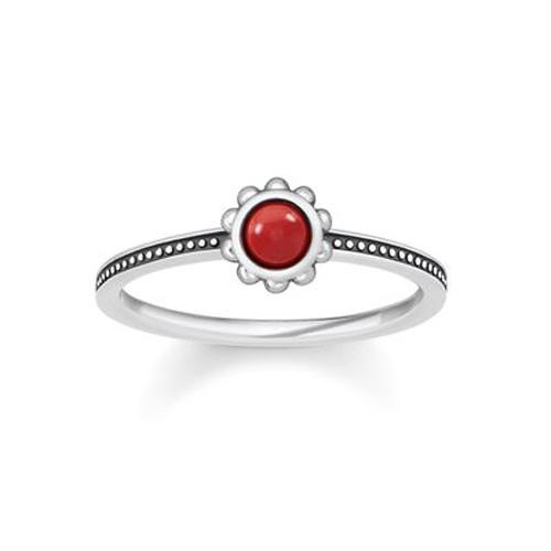"""Prsten """"Etnický červený"""" Thomas Sabo TR2151-111-10-52, Sterling Silver, 925 Sterling silver, blac"""