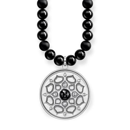 """Náhrdelník """"Černý lotosový květ"""" Thomas Sabo KE1642-326-11-L60, Sterling Silver, 925 Sterling silver, bla"""