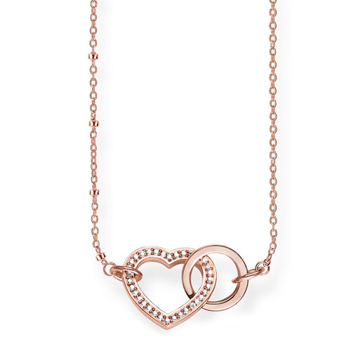 """Náhrdelník """"Spolu srdce"""" Thomas Sabo KE1731-416-14-L50v, Glam & Soul, 925 Sterling silver, 18k ro"""